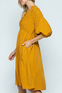 Peasant Dress - Mustard Yellow