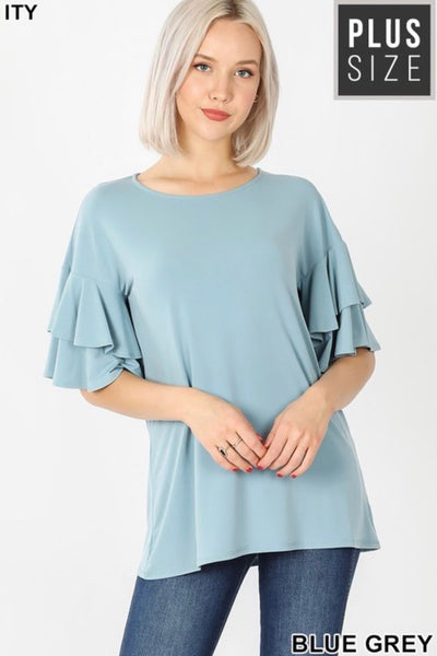 PLUS GiG Double Bell Tee- Blue Grey