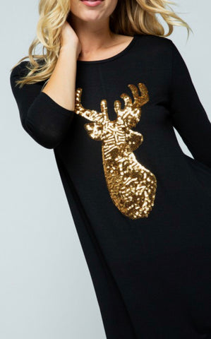 Black Sequin Reindeer Tunic