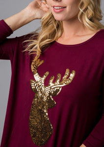 Burgundy Sequin Reindeer Top