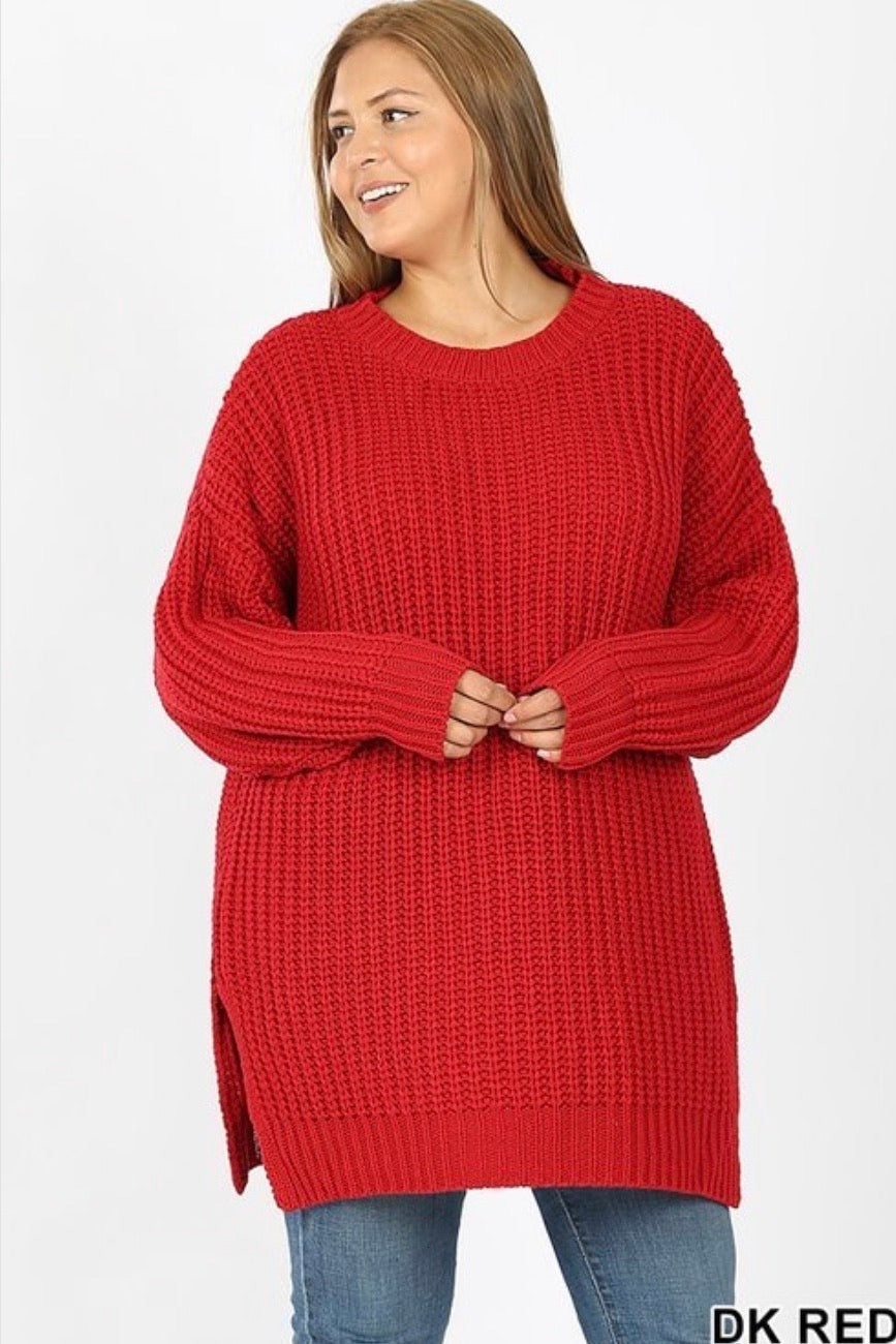 Curvy Cozy Sweater (Red)