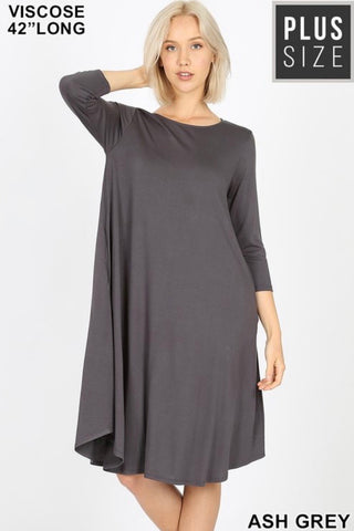 Curvy GiG Tee Dress 3/4 Sleeve (Grey)