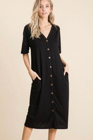 Casual Dress - V Neck (Black) S-XL