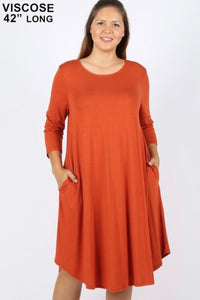 Curvy GiG Tee Dress 3/4 Sleeve (Copper)