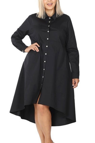 Curvy Poplin Dress (Black)