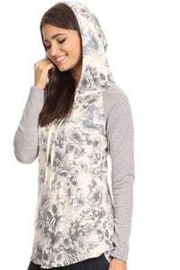 Light with Floral Hoodie - Grey/Ivory