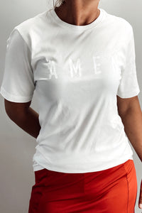 AMEN Tee (White on White)