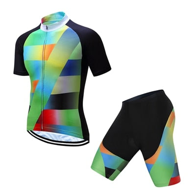 Bib Green Cycling Bike Short Sleeve Clothing Set Suit Jersey Shorts S-3XL