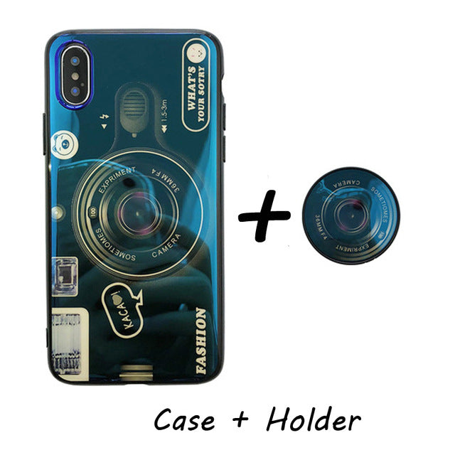 Silicone Cute Camera Stand Holder Case For Iphone X Xr Xs Max