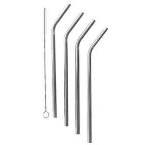 Silver stainless steel straw set of 4