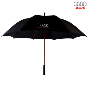 AUDI Umbrella Large Golf Size In Black Red Fiberglass Frame - Audi umbrella