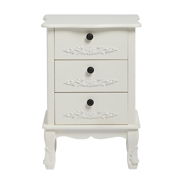 Antoinette three drawer chest In White- glenwood-furnishings