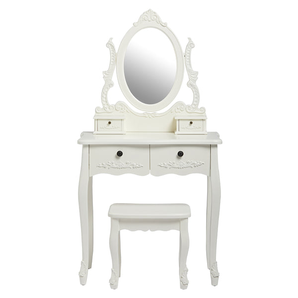 Antoinette Dressing table set In White - glenwood-furnishings