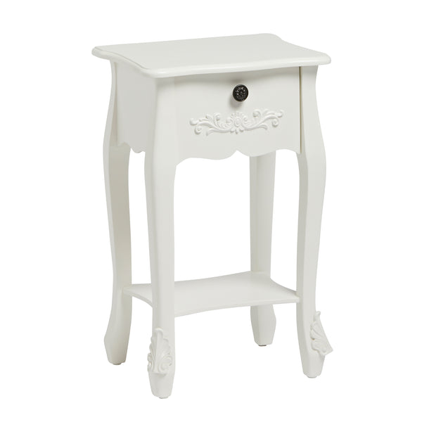 Antoinette one drawer nightstand In White - glenwood-furnishings