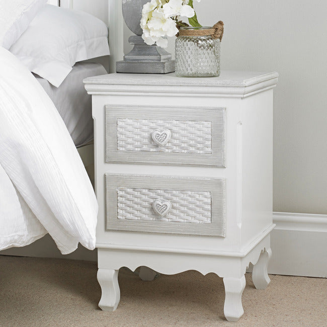 Brittany White-Grey 2 Drawer Bedside Cabinet