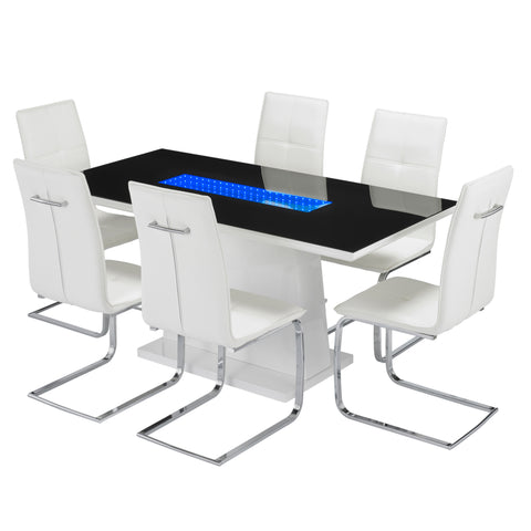 Matrix Dining Table & Six white Chairs- glenwood-furnishings