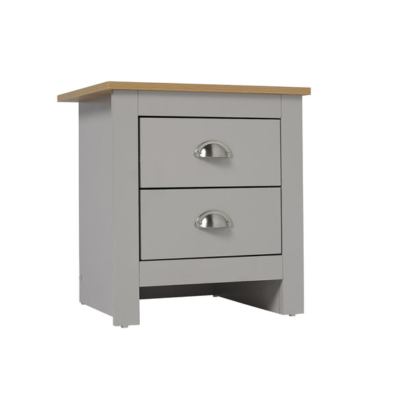Lancaster grey & oak two drawer bedside chest