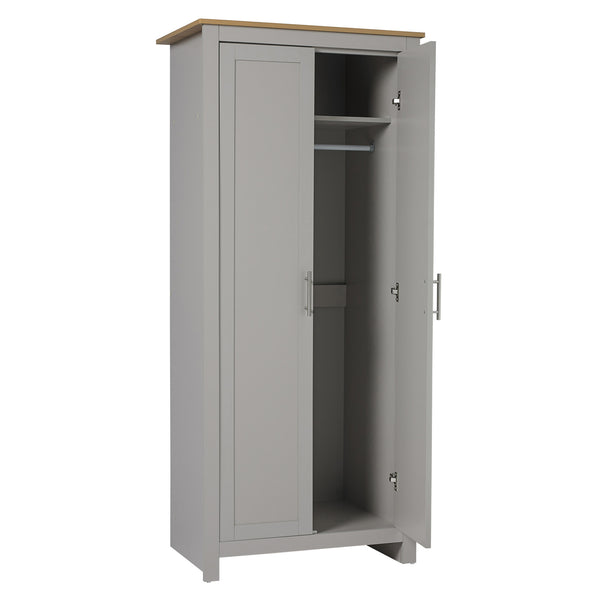 Lancaster grey & oak wardrobe with door open