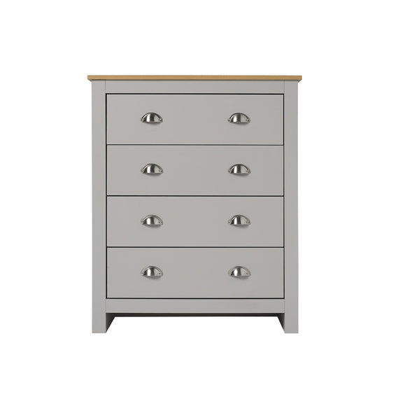 Lancaster grey & oak large four drawer chest