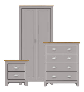 Lancaster grey & oak three piece bedroom set