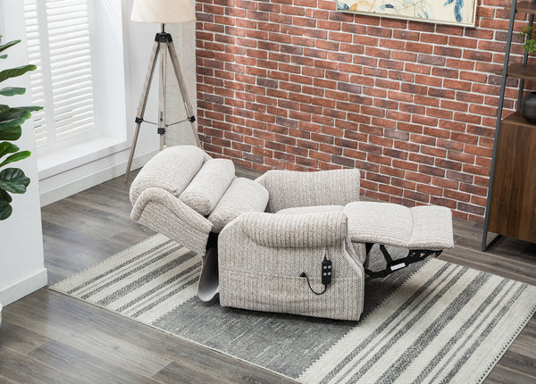 Lincoln lift and rise recliner Wheat fabric fully reclined