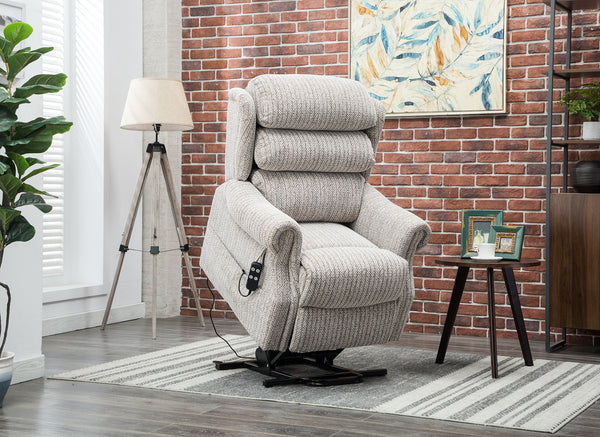Lincoln lift and rise recliner Wheat fabric raised