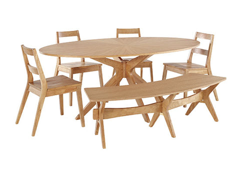 Malmo Scandinavian Style table and chairs with bench - glenwood-furnishings