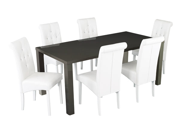 Puro large charcoal table with white Monroe chairs