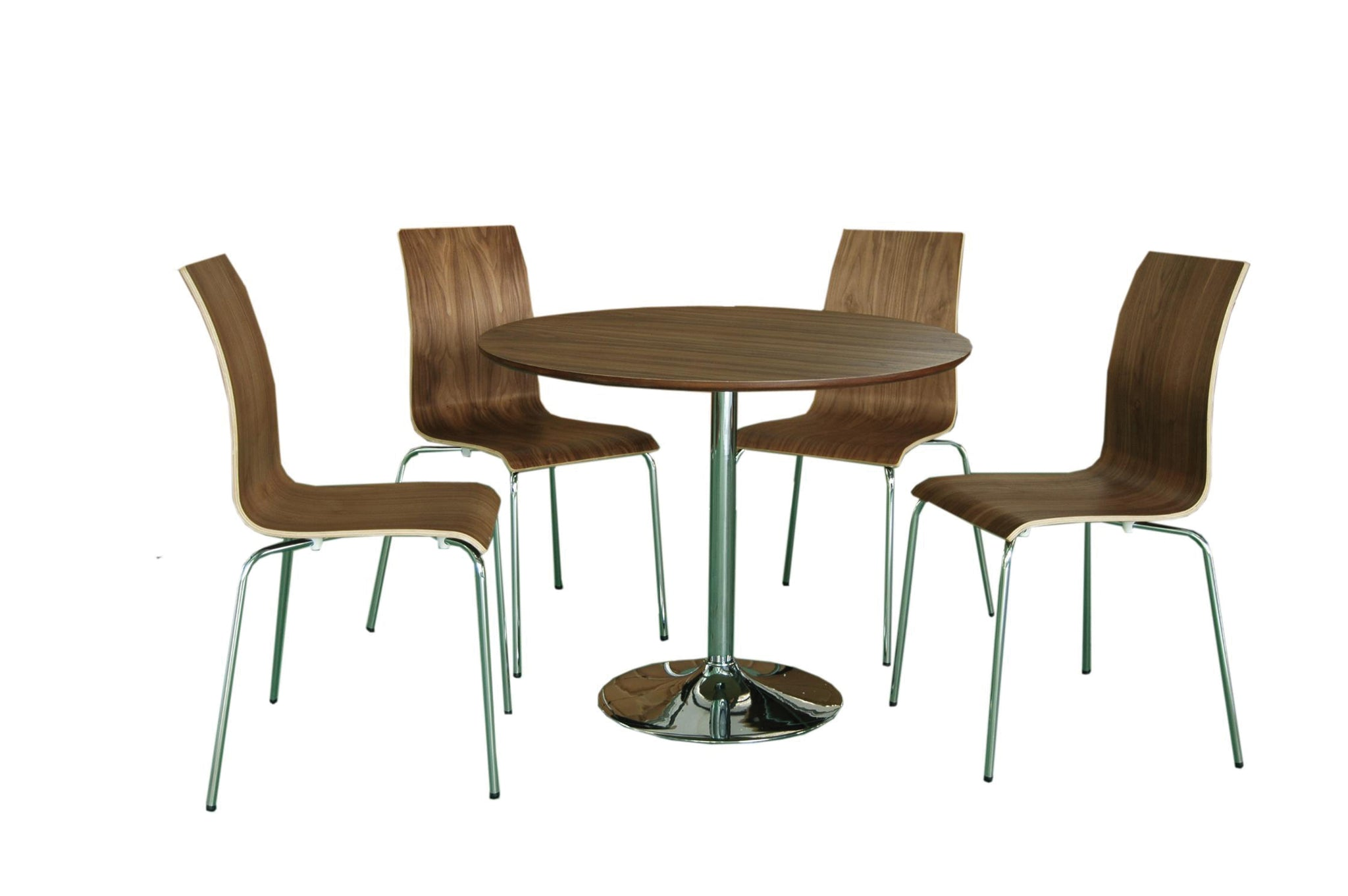 Soho Contemporary table and chairs walnut colour- glenwood-furnishings