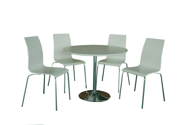Soho Contemporary table and chairs gloss white colour- glenwood-furnishings