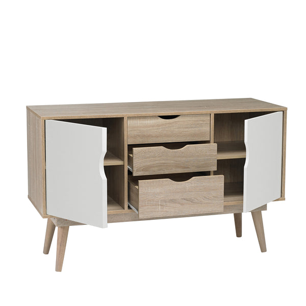 Scandi sideboard with cupboards and drawers open-glenwood furnishings