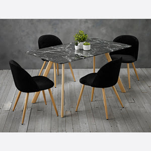 Venice Marble Effect Dining Set Black