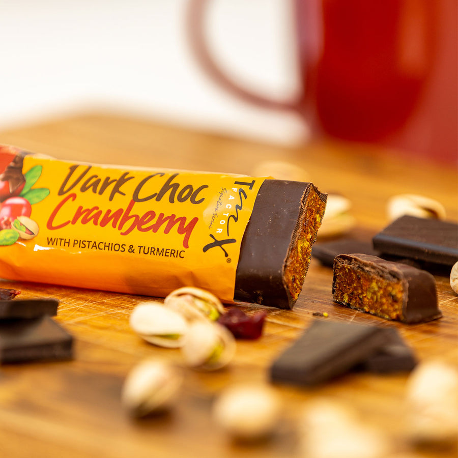 20 bars (1 box) - TmX Factor Dark Choc Cranberry Energy Bar  - (Paying for 16 getting 4 for FREE)