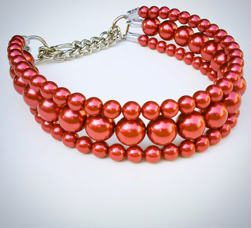 The Via in Red ~ Pearl Dog Collar