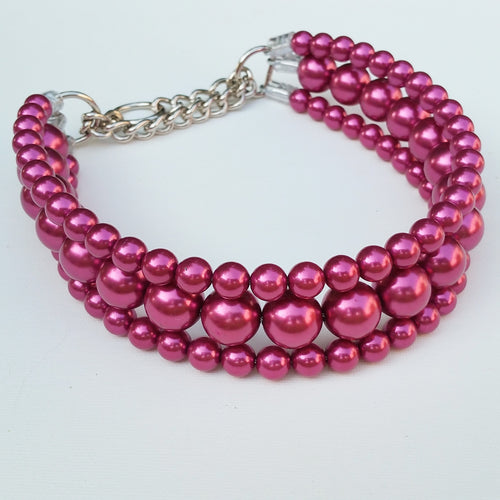 The Via in Magenta ~ Pearl Dog Collar
