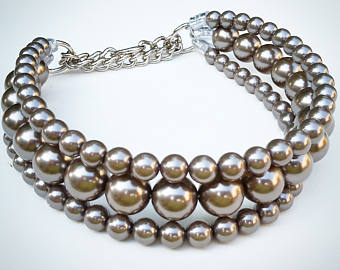 The Via in Charcoal ~ Pearl Dog Collar