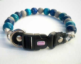 Blue,Turquoise and Grey Bead Collar
