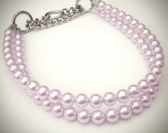Double Strand lilac Pearl Collar