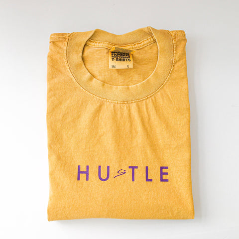"""HUSTLE"" custom 7.5 oz Max Heavyweight Garment Dye"