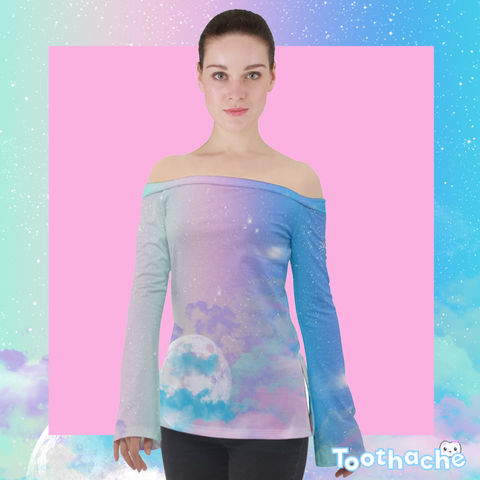 Pastel Night Sky Off Shoulder Long Sleeve Top