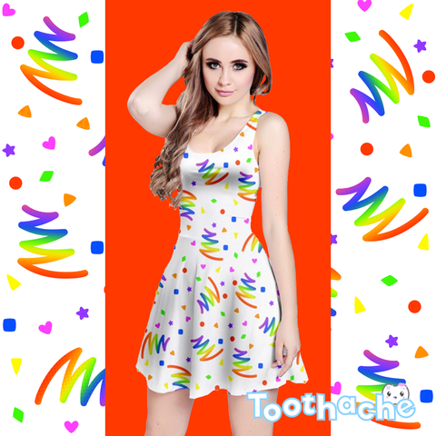 Neon Bold Bowling Alley Vibes Dress in White