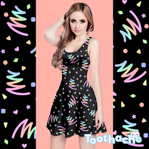 Neon Pastel Bowling Alley Vibes Dress in Black