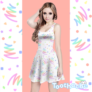 Neon Pastel Bowling Alley Vibes Dress in White