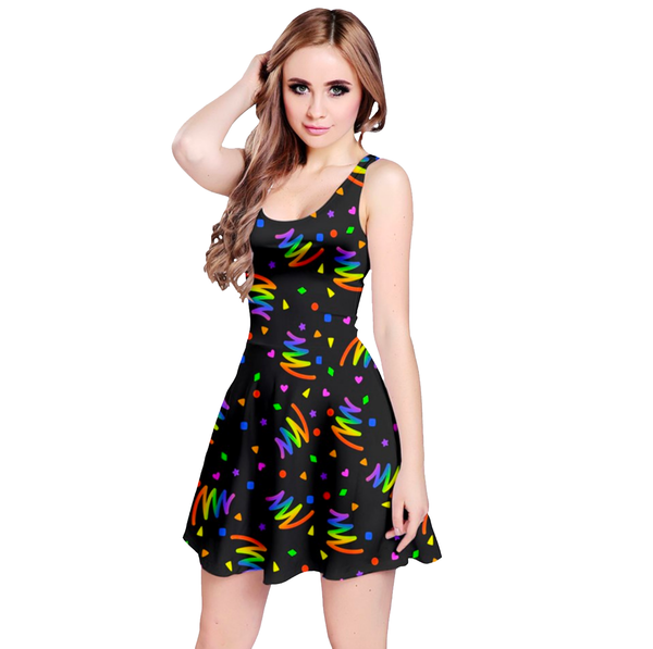 Neon Bold Bowling Alley Vibes Dress in Black