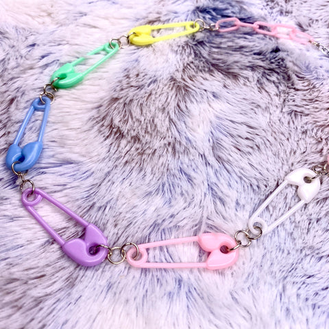 Pins and Blocks Pastel Safety Pin Necklace