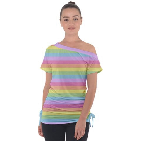 Pastel Rainbow Stripe Off the Shoulder Top
