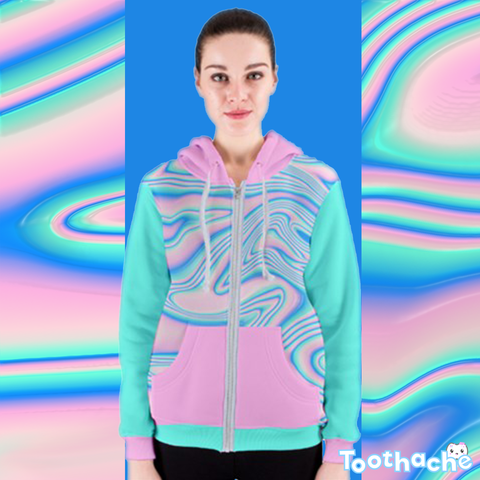 Pastel Wave Dreamer Zip Up Hoodie