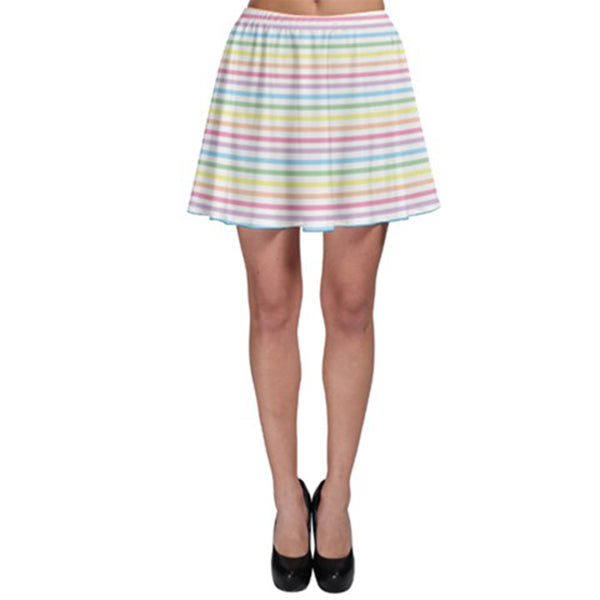 Pastel Rainbow Stripes Skater Skirt