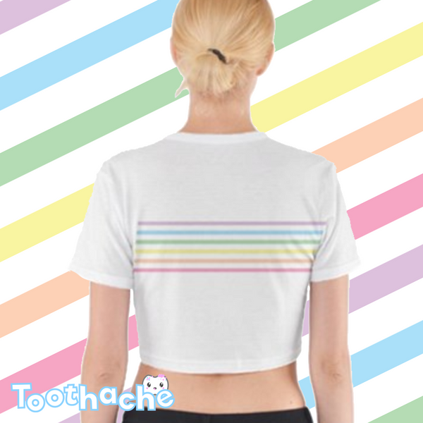 Pastel Rainbow Stripes Crop Top - White