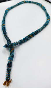 Teal lariat necklace